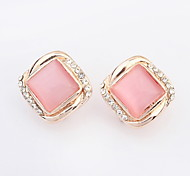 New Design For 2015 Fahsion Jewelry Square Shaped Opal Alloy Earring Crystal Earrings For Women