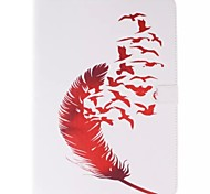 Red Feather and Red Bird Picture PU Leather Full Body TPU Case with Card Holder for Samsung Galaxy T800 /Tab S