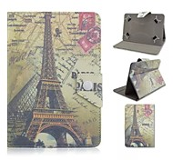 Eiffel Tower Pattern Magnetic Flip Stand Universal PU Leather Case for 10 inch Tablet PC