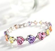 Women's Fashion Colorful Heart Crystal Rhinestone Hand Chain Ring Bracelet