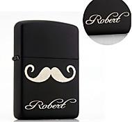 Personalized Gift Volume Beard Design Black Steel Oil Lighter