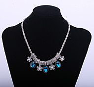 Fashion Women's Choker Necklace with Blue Resin Flower Accessory