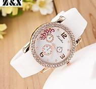 relógio de pulso de moda silicone cinta de aço de quartzo das mulheres (cores sortidas)