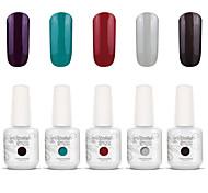 Gelpolish Nail Art Soak Off UV Nail Gel Polish Color Gel Manicure Kit 5 Colors Set S120