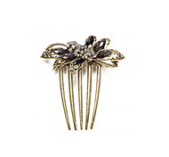 Hair Comb Bridal Butterfly Black Resin Vintage Brass Metal 5 Teeth Chic 91x78mm