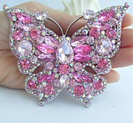 Women Accessories Silver-tone Pink Rhinestone Crystal Brooch Art Deco Butterfly Brooch Bouquet Women Jewelry
