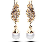 HUALUO®Full Diamond Angel Wings Full Diamond Pearl Earrings