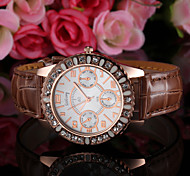 Women's Crystal Case PU Band Quartz Watch