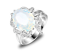 Friend Gift Fire Multi-Colored Moonstone Gem 925 Silver Statement Rings For Wedding Party Daily Casual 1pc