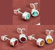 regalo de la familia fuego ronda verde citrino cuarzo rojo gema 925 aretes de plata para 1pairs alquileres diarios banquete de boda