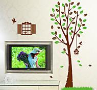 natürliche Fenster Baum PVC-Wandaufkleber Wandtattoos