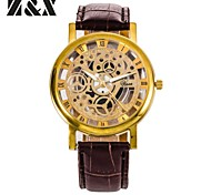 Men's Fashion Big Dial Skeleton Business Quartz Analog Leather Band Wrist Watch(Assorted Colors) Cool Watch Unique Watch