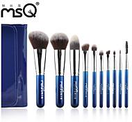 MSQ® 10pcs Makeup Brushes set Hypoallergenic/Limits bacteria Blue Blush brush Shadow/Lip/Brow Brush Fiber Stamping LOGO Cosmetic Brushes Makeup Kit
