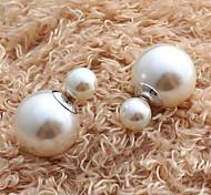 Multicolor double pearl earrings earrings