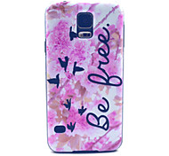 Pink Flower Free Pattern PC Hard Case for Samsung Galaxy S5 I9600 Back Cover