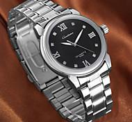 reloj de pulsera de cuarzo impermeable esfera redonda sencilla aleación de plata del diamante de banda de la pareja