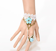 Vintage Bule Flower Bracelet With Ring