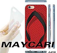 Red Flip-flops Pattern Transparent TPU Soft Back Case for iPhone 6