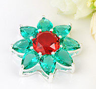 Fashion Forward Fire Green Red Quartz Gem 925 Silver Stars Pendants for Necklaces For Wedding Party Daily 1pc