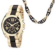 Mulher relógio caixa de relógio e colar