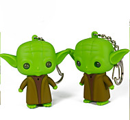 Yoda LED Keychain Flashlight Sound Light Key Ring (Random Color)