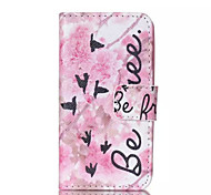 Pink Flower Pian Pattern PU Leather Painted Phone Case For iPhone 4/4S