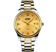 SKMEI® Men's Dress Watch Elegant Design Japanese Quartz Calendar/Water Resistant Stainless Steel Strap Cool Watch Unique Watch