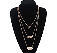 European Style Fashion Glossy Multilayer Triangle Necklace