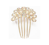 Hair Clip Comb Faux Pearl Crystal Peacock Metal Gold 97x75mm