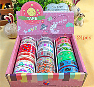 24PCS 1.5x6M Popular Rainbow Washi Sticky Paper Masking Adhesive Decorative Tape Scrapbooking DIY