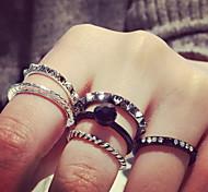 Fashion Metal Black Onyx Black Pearl Midi Rings Ring Set(1 Set)