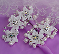 2015 China Stye Retro Bride Jewelry White Petals Pearl/Fabric Hair Claws Wedding/Party 1pc