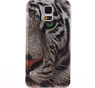 White Tiger Pattern TPU Back Cover Case For Samsung Galaxy S5 I9600