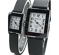 Couple's Square Dial Black Rubber Band Quartz Wrist Watch Cool Watches Unique Watches Fashion Watch