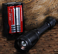 2200LM CREE XM-L T6 LED Flashlight Focus Torch light + 2x 18650 Batteries + Charger