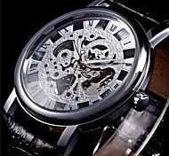 WINNER® Men's Semi-Mechanical Manual Winding Fashion Skeleton Watch PU Leather Strap Cool Watch Unique Watch