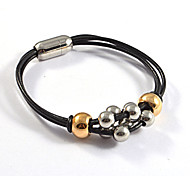 Fashion Unisex's 316L Stainless Steel Beautiful Beads Leather Bracelets 1pc
