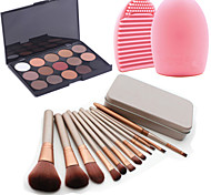 12Pcs Cosmetic Makeup Tool Blush Foundation Brush Set Box +15Colors Matt Eyeshadow Palette+1PCS Brush Cleaning Tool