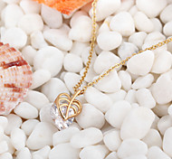 Women's 18K Gold Plated Sweet Heart Crystal Necklaces