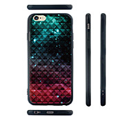 Gradient Color Squares Pattern Transparent Silica Gel Edge Back Case for iPhone 6/6S