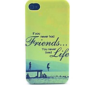 amigos para siempre caja del teléfono material de la PC patrón para el iphone 4 / 4s