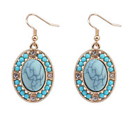 European Style Fashion Simple Oval Turquoise Earrings