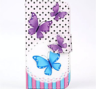 Butterfly  Pattern PU Leather Phone Case for iPhone 5C