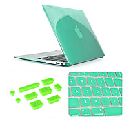 Best Quality Solid Color Crystal MacBook Case with Keyboard Cover and Anti-dust Plugs for MacBook Air 11.6 inch