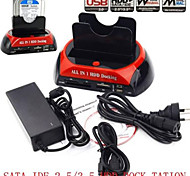 "Dual Dock/Docking station-SD/CF+HUB-E-SATA USB Double 3.5/2.5""SATA HARD DISK HDD DOCK"