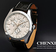 CHENXI® Men's Dress Watch Racing Design Black Leather Strap