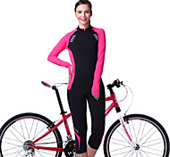 OUTTO Women's Cycling Jersey + 3/4 Legging Pants Compression Bike Suits long Sleeve Padded Refective Breathable