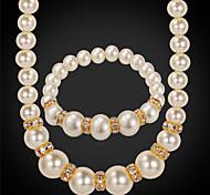 plateado perla de la moda 18k collar de oro de las mujeres u7® rhinestone cristal de joyería de perlas collar pulsera conjunto