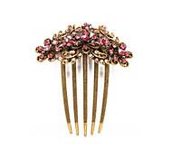 Hair Comb Clip Pin Butterfly Flower Fuchsia Rhinestone Brass Bronze 94x79mm