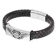 L:21CM W:1.2CM Fashion Stainless Steel 316L Silver Wing Genuine Black Leather Men Cool Bracelet